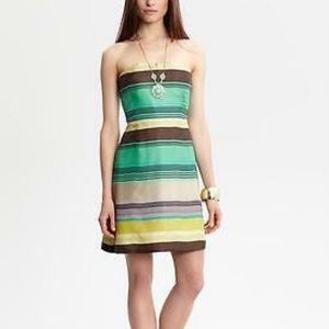 Banana Republic striped silk strapless dress 6